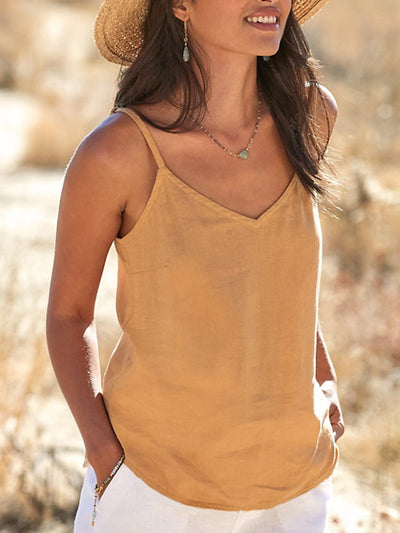 V Neck Cotton-Blend Sleeveless Shirts & Tops