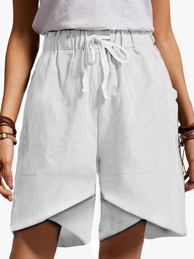 Cotton And Linen Elastic Waist High Waist Fashion Shorts