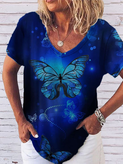 Casual Butterfly Printed Short Sleeve V-Neck T-Shirts