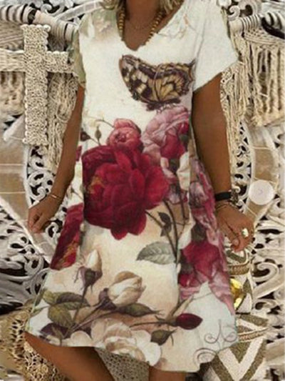 Casual Holiday V Neck Short Sleeve Floral Butterfly Dresses