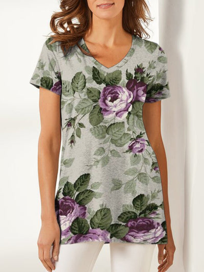 Floral Casual Cotton-Blend V Neck Shirts & Tops