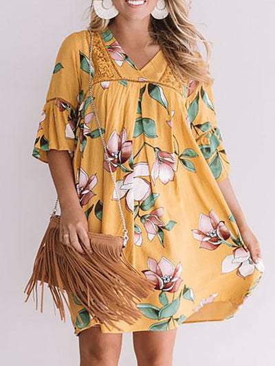 Holiday Half Sleeve V-Neck Loose Shift Dress