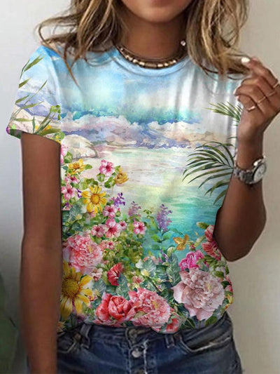 Casual Floral-Print Floral Shirts & Tops