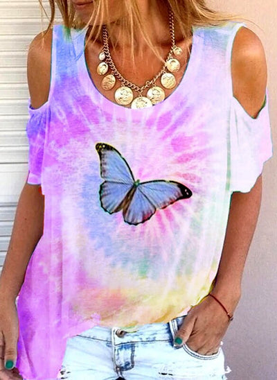 Off Shoulder Ombre/tie-Dye Casual Shirts & Tops