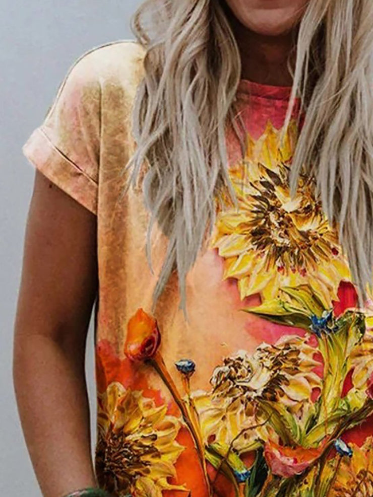 Flower Oil Painting 3D Print Short Sleeve Casual T-shirt