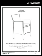 WEN70CAR-WS - Carver Chair Instruction Manual