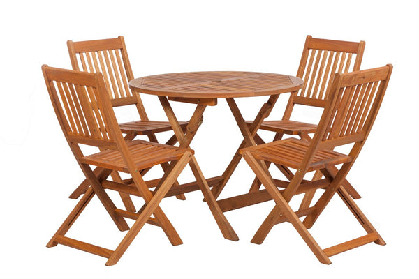 Manhattan 4 Seater Dining Set with 4 Folding Chairs