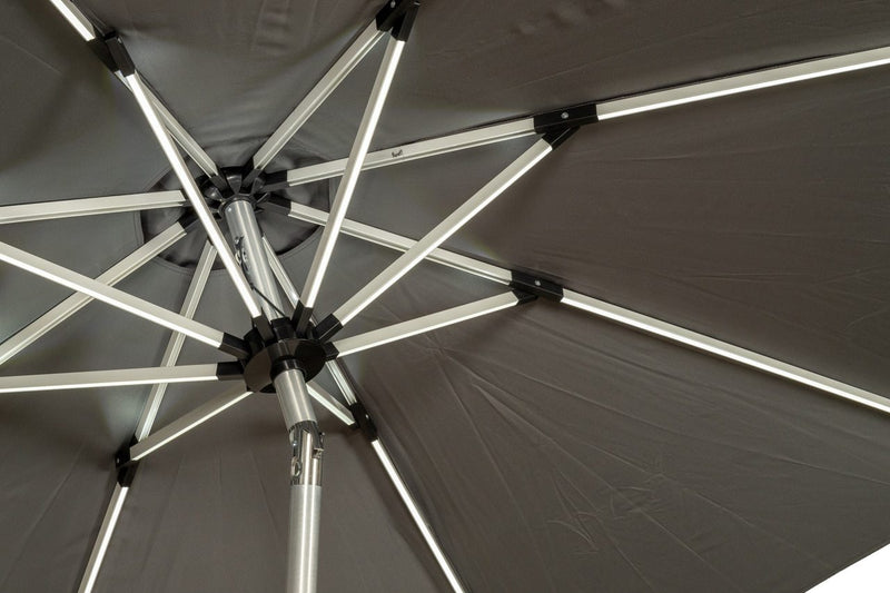 Grey 2.7m Crank and Tilt LED Strip Parasol