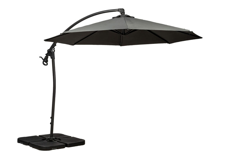 Grey 3m Deluxe Pedal Operated Rotational Cantilever Parasol
