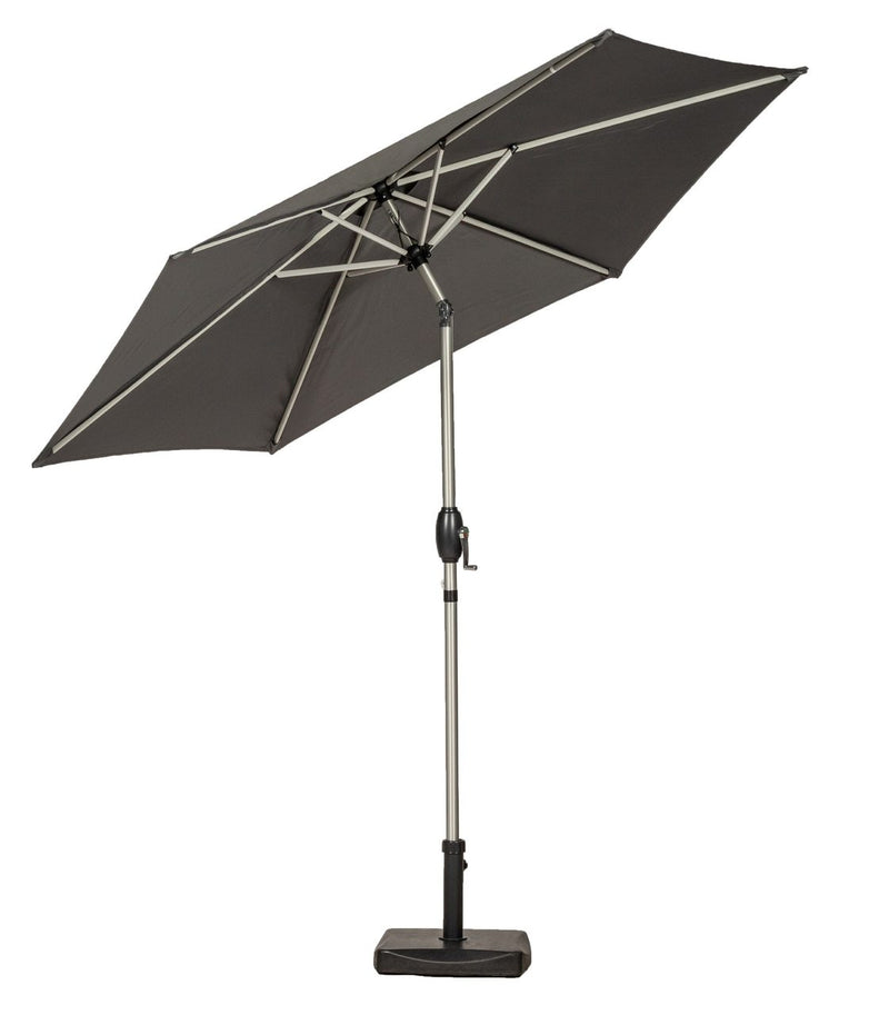 Grey 2.5m Crank and Tilt Parasol - Brushed Aluminium Pole