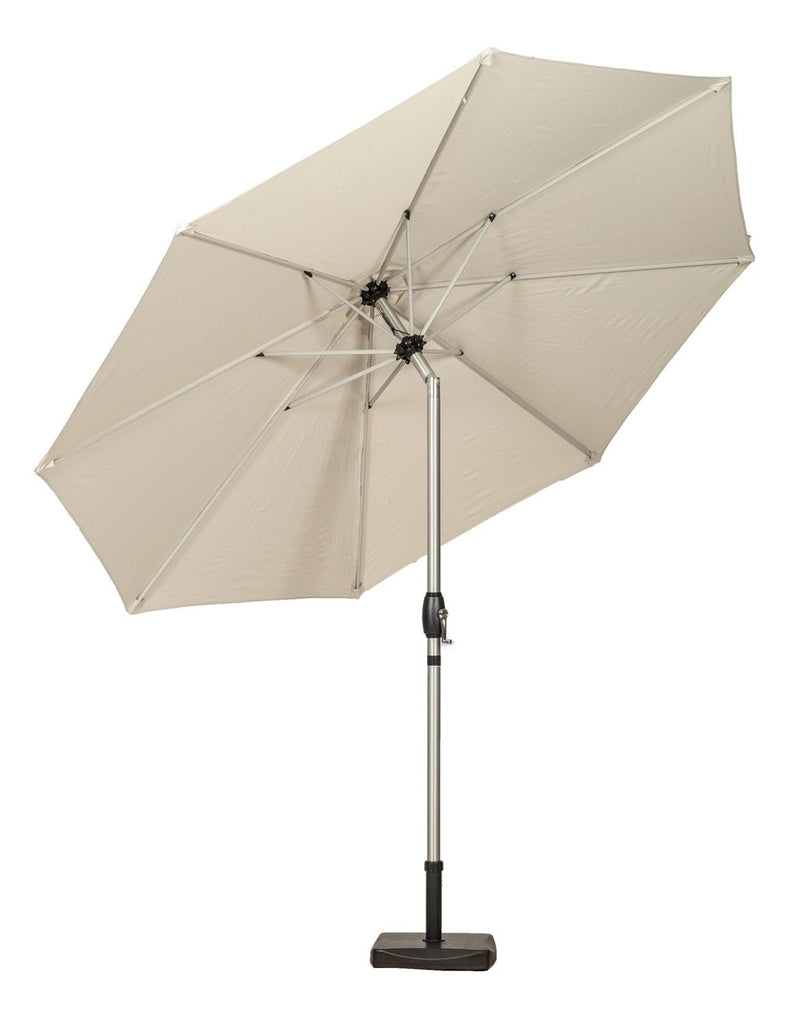 Ivory 3m Crank and Tilt Parasol - Brushed Aluminium Pole