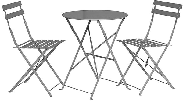 Padstow 2 Seater Folding Bistro Set - Grey Taupe
