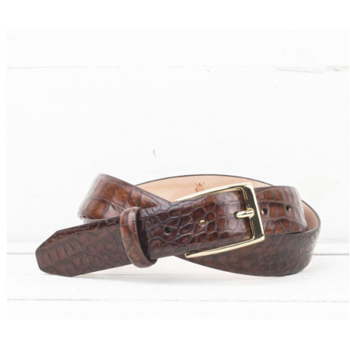 Martin Dingman Alligator Grain Belt in Brown