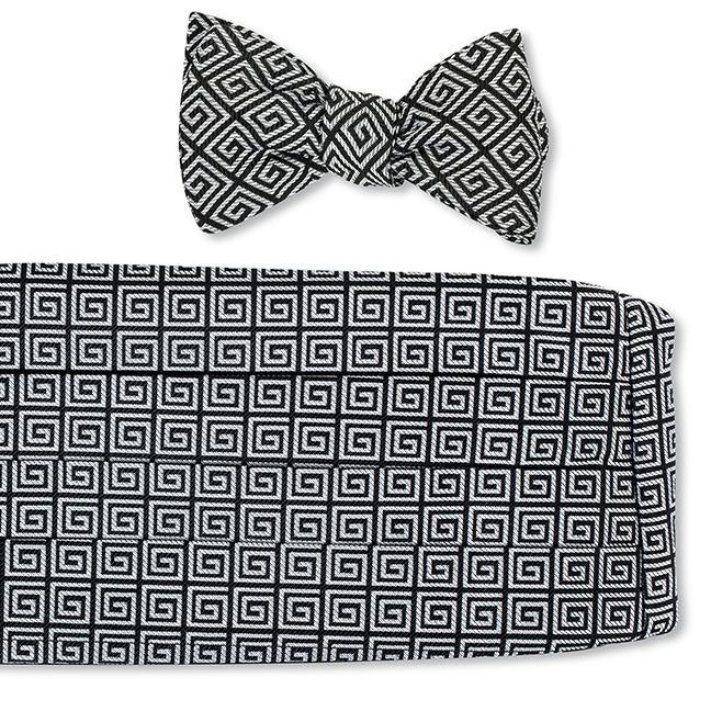 R. Hanauer Greek Key Cummerbund Set in Black-Silver