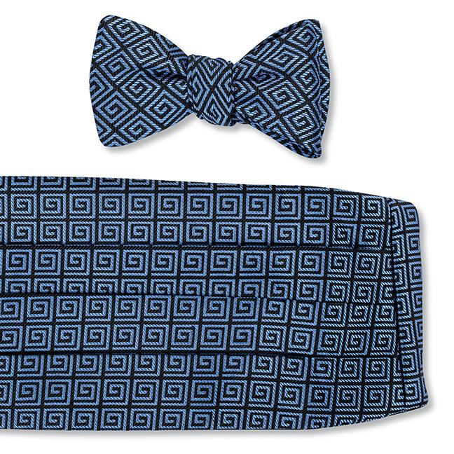R. Hanauer Greek Key Cummerbund Set in Black-Blue