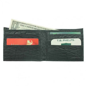 T. B. Phelps Bozeman Bison Leather Bifold Wallet in Black