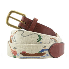 Load image into Gallery viewer, Smathers & Branson Gone Fishing Needlepoint Belt