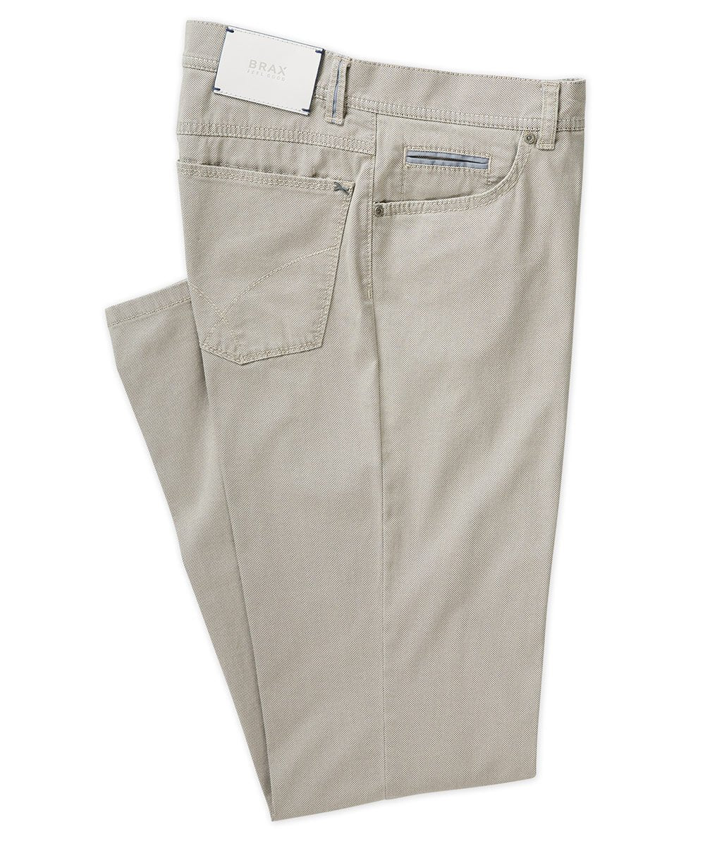 Brax Textured Cotton Stretch Five-Pocket Pant in Taupe