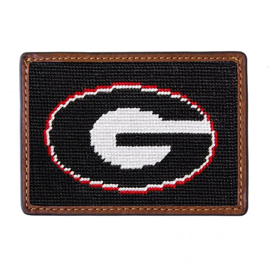 Smathers & Branson Georgia Needlepoint Card Wallet in Black