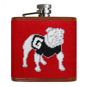 Smathers & Branson Georgia Needlepoint Flask in Red