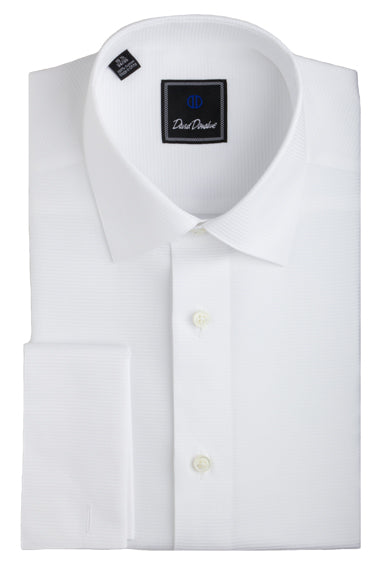 David Donahue Horizontal Rib French Cuff Formal Shirt