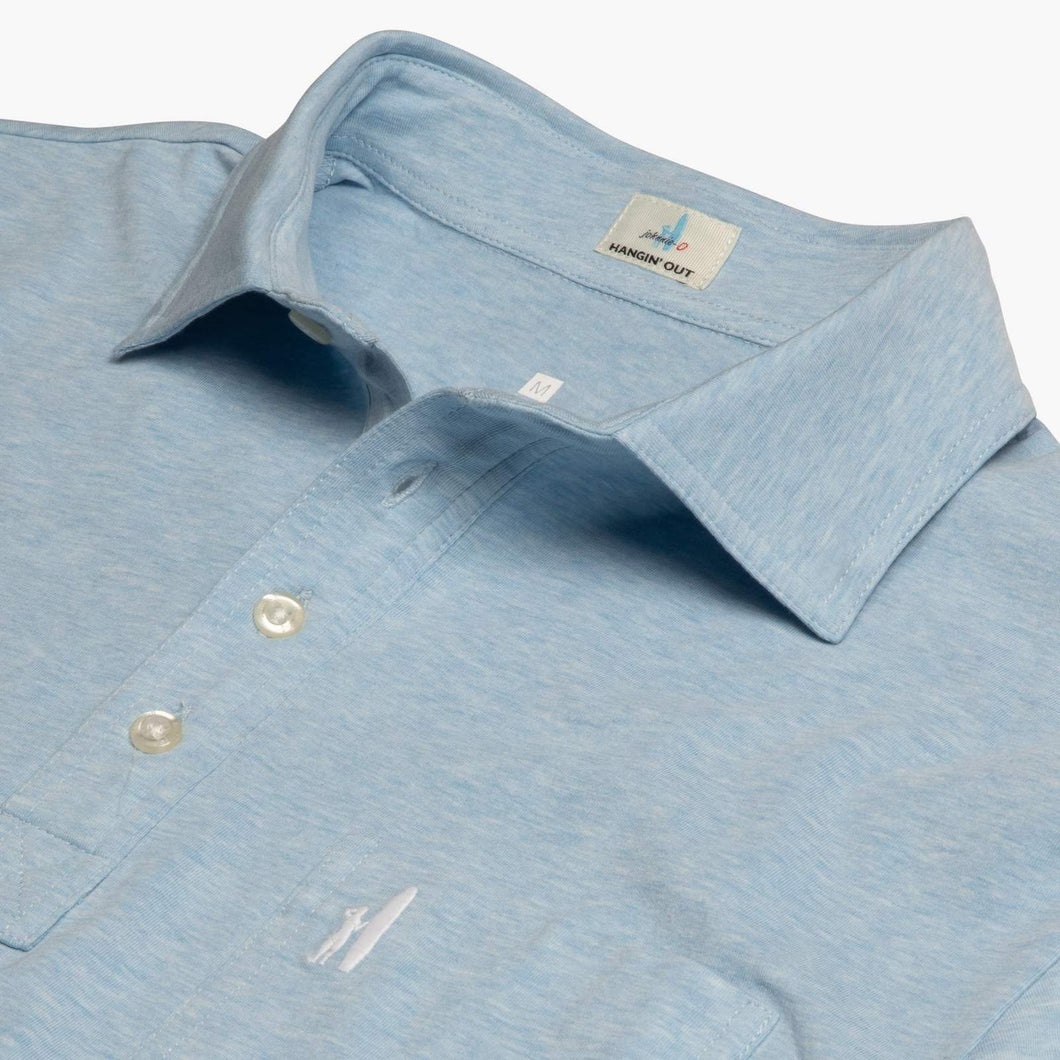 Johnnie-O The Original 4-Button Heathered Polo in Gulf Blue