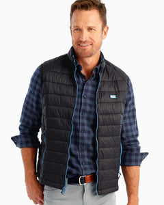 Johnnie-O Hudson Quilted 2-way Zip Front Vest in Black