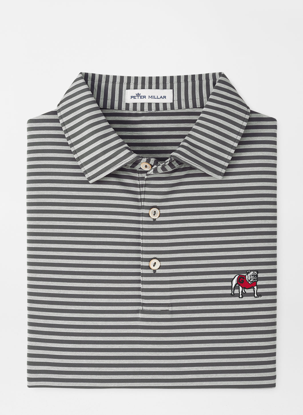 Peter Millar Georgia Standing Bulldog Mills Stripe Performance Polo in Iron