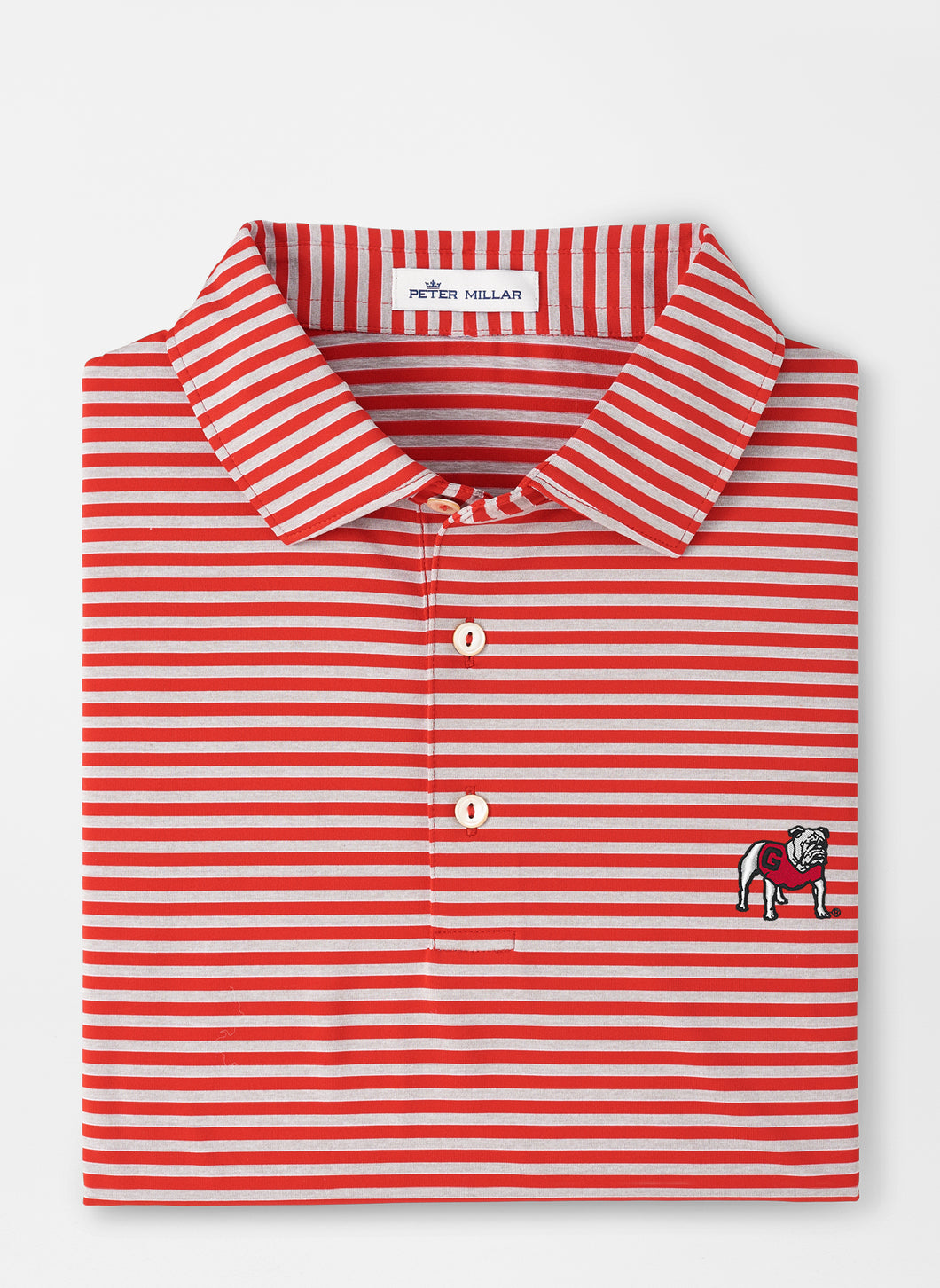 Peter Millar Georgia Standing Bulldog Mills Stripe Performance Polo in Red