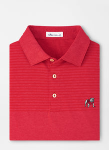 Peter Millar Georgia Standing Bulldog Engineered Stripe Performance Polo in Red3