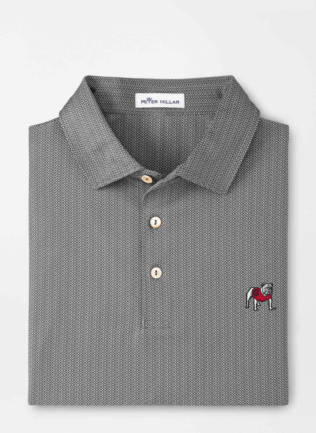 Peter Millar Georgia Standing Bulldog Jamm Performance Polo in Iron