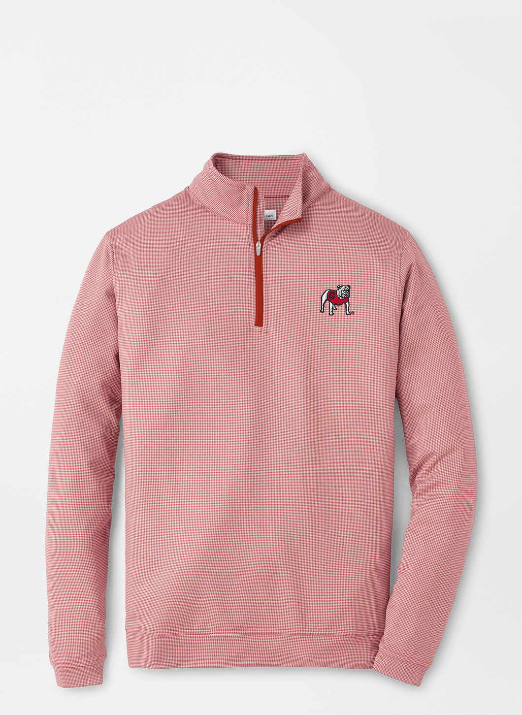 Peter Millar Georgia Standing Bulldog Houndstooth Perth Performance Pullover-Red3/Gale Grey