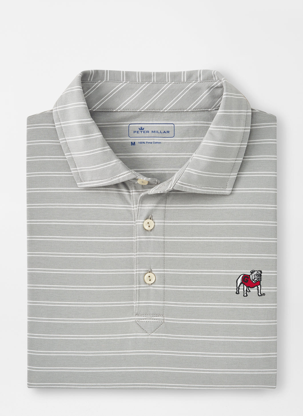 Peter Millar Georgia Standing Bulldog Dunns Cotton Polo in Gale Grey