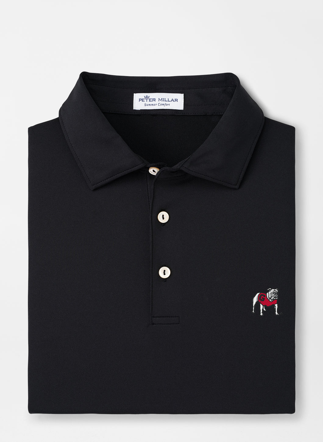 Peter Millar Georgia Standing Bulldog Performance Polo in Black