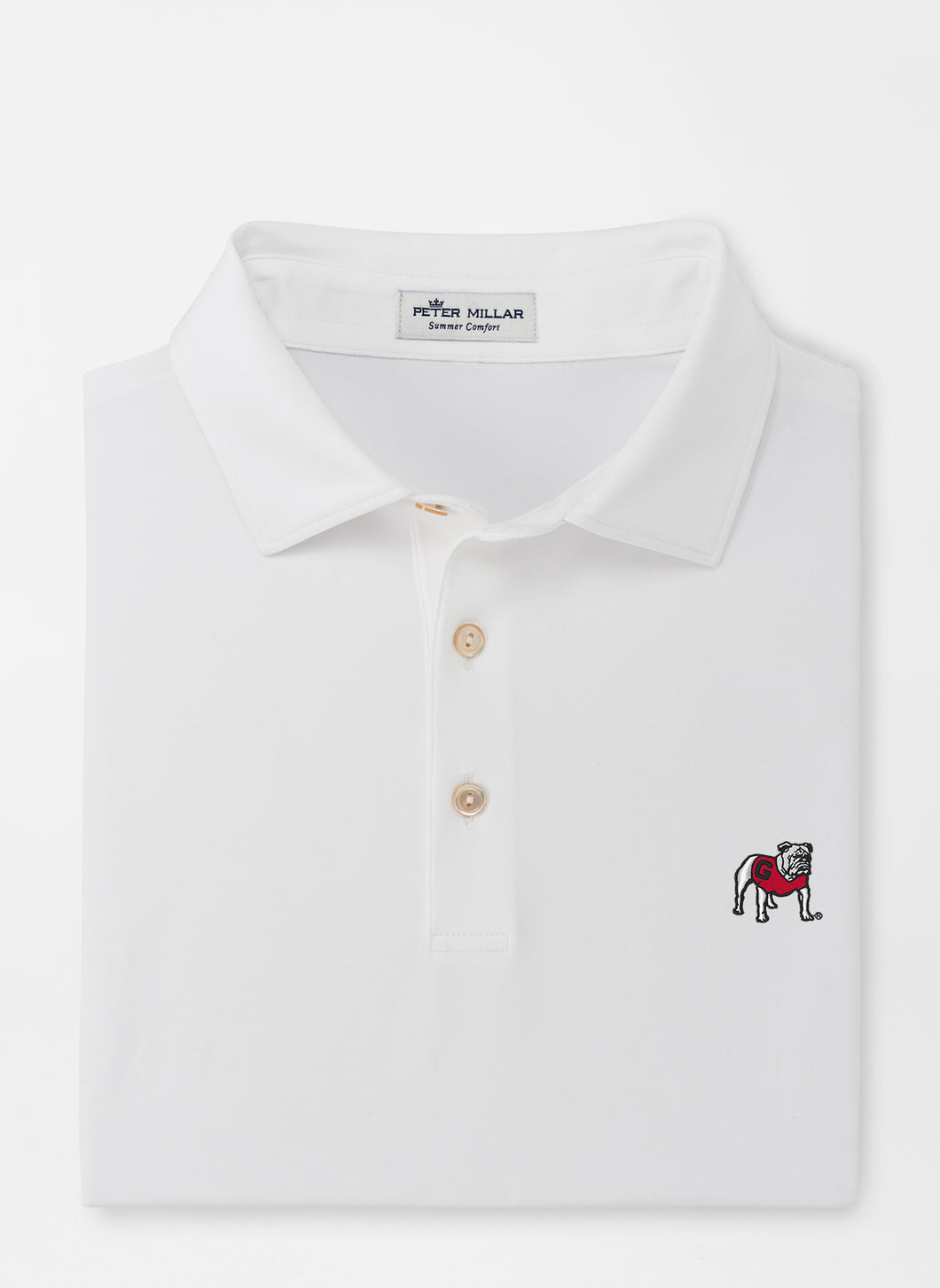 Peter Millar Georgia Standing Bulldog Performance Polo in White