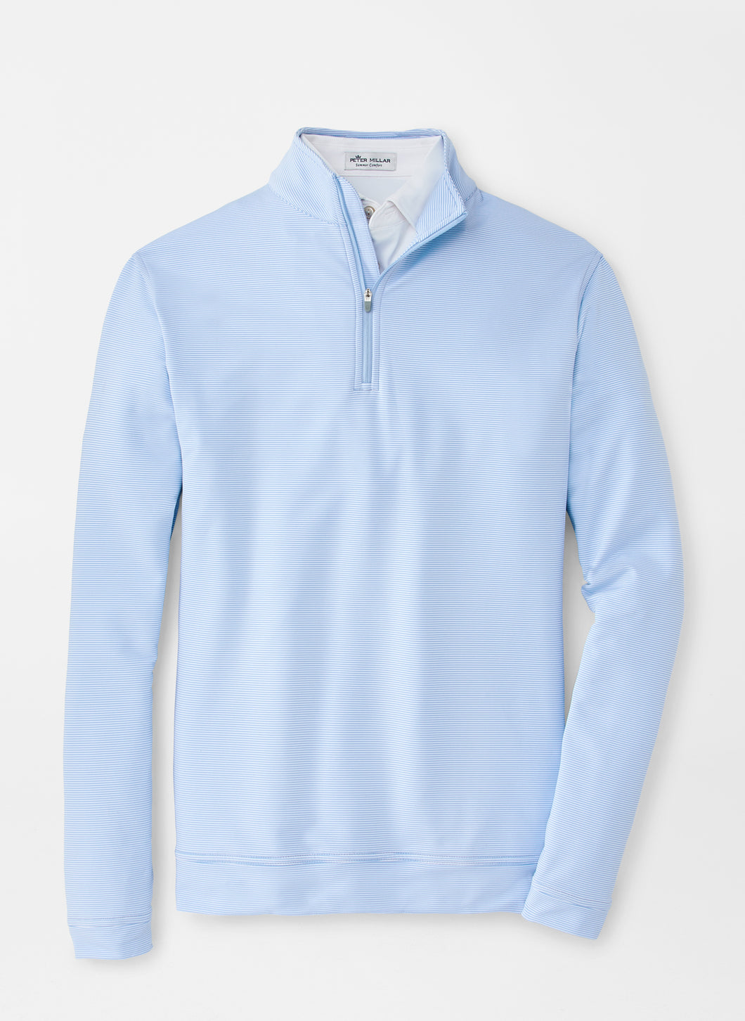 Peter Millar Perth Mini-Stripe Stretch Loop Terry Quarter-Zip in Cottage Blue/White