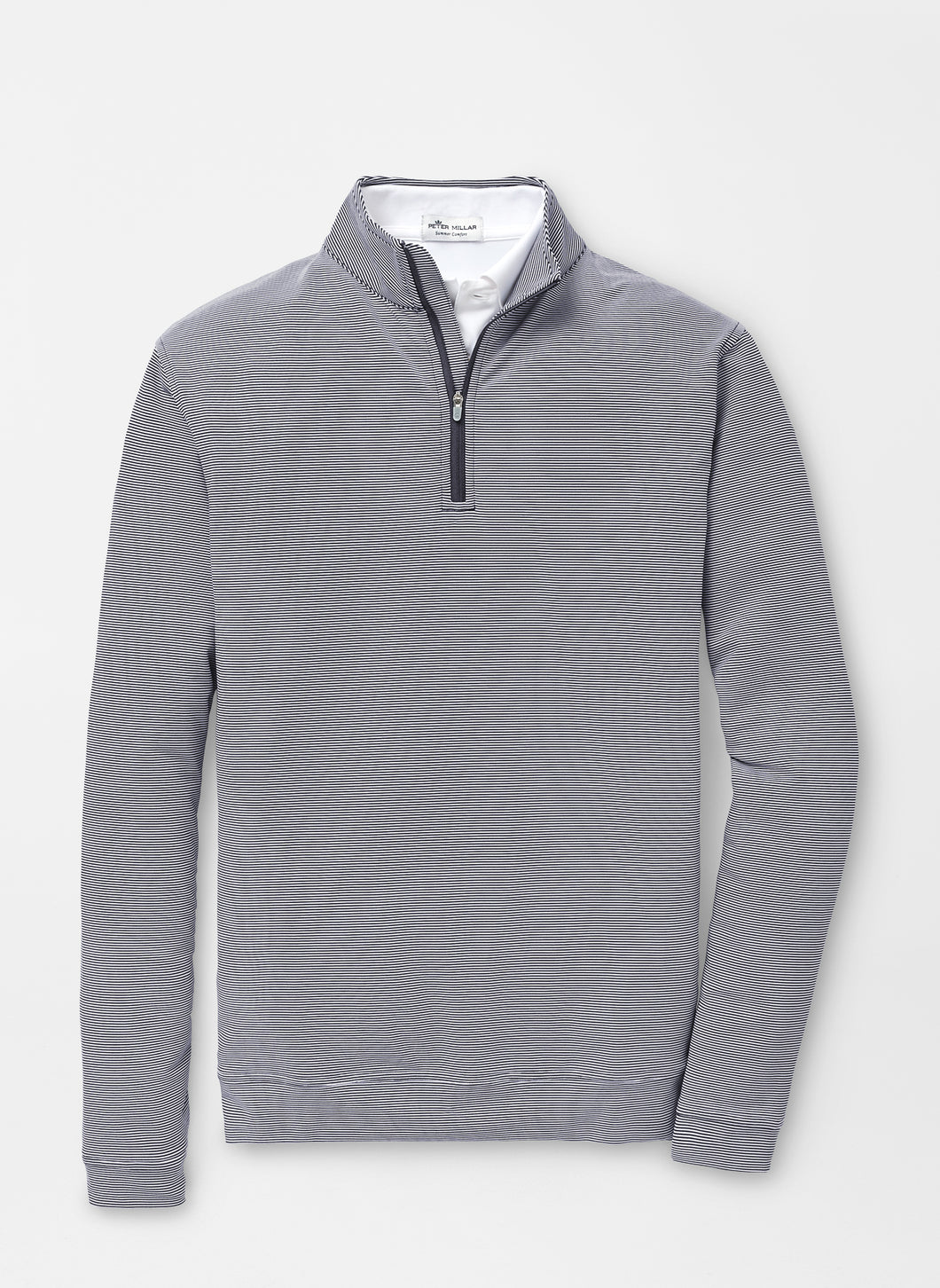 Peter Millar Perth Mini-Stripe Stretch Loop Terry Quarter-Zip in Navy/White