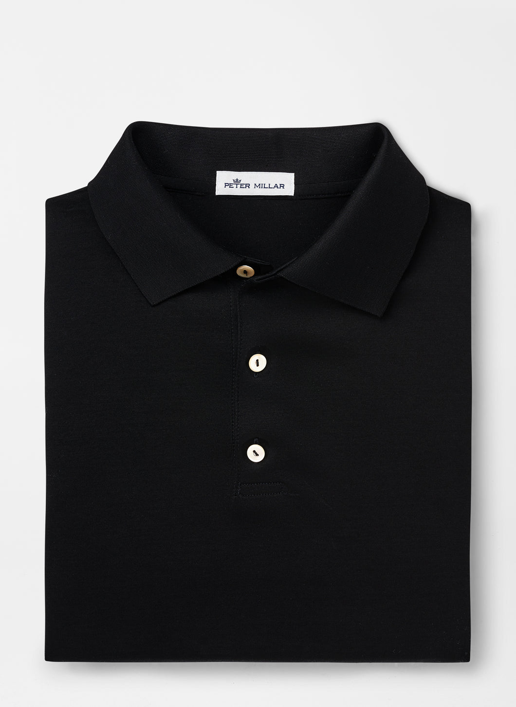 Peter Millar Solid Mercerized Cotton Polo in Black