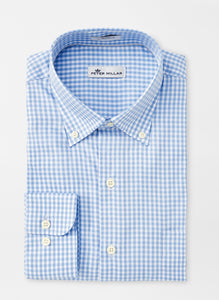 Peter Millar Crown Soft Gingham Sport Shirt in Cottage Blue