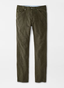 Peter Millar Flannel FIve-Pocket Pant in Loden
