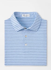 Peter Millar Crafty Stripe Performance Polo in Cottage Blue