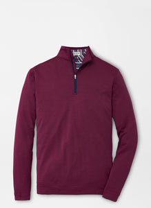 Peter Millar Melange Perth Performance Quarter-Zip in Pomegranate