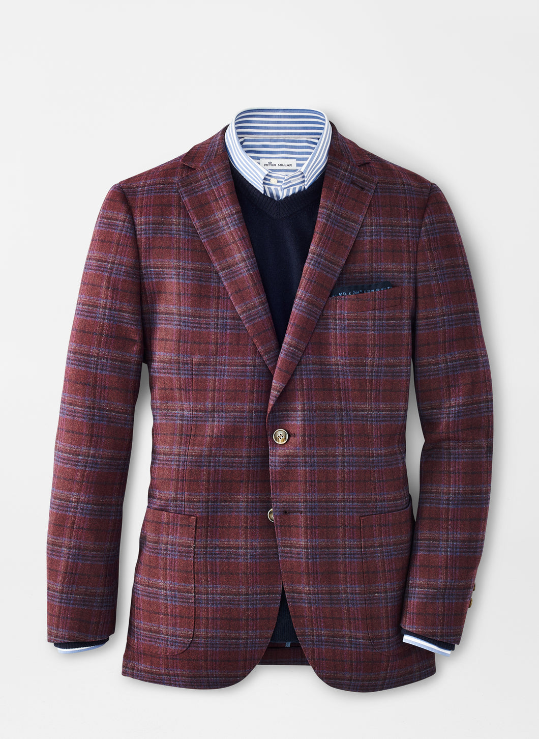 Peter Millar Autumn Plaid Soft Jacket in Currant