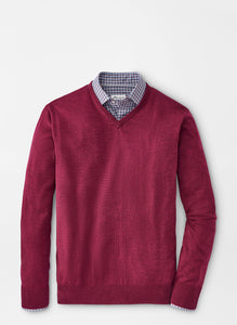 Peter Millar Crown Soft Merino-Cashmere V-Neck in Pomegranate