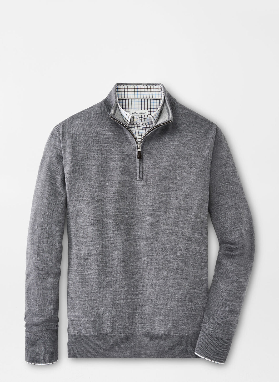 Peter Millar Crown Soft Merino-Silk Quarter Zip in British Grey