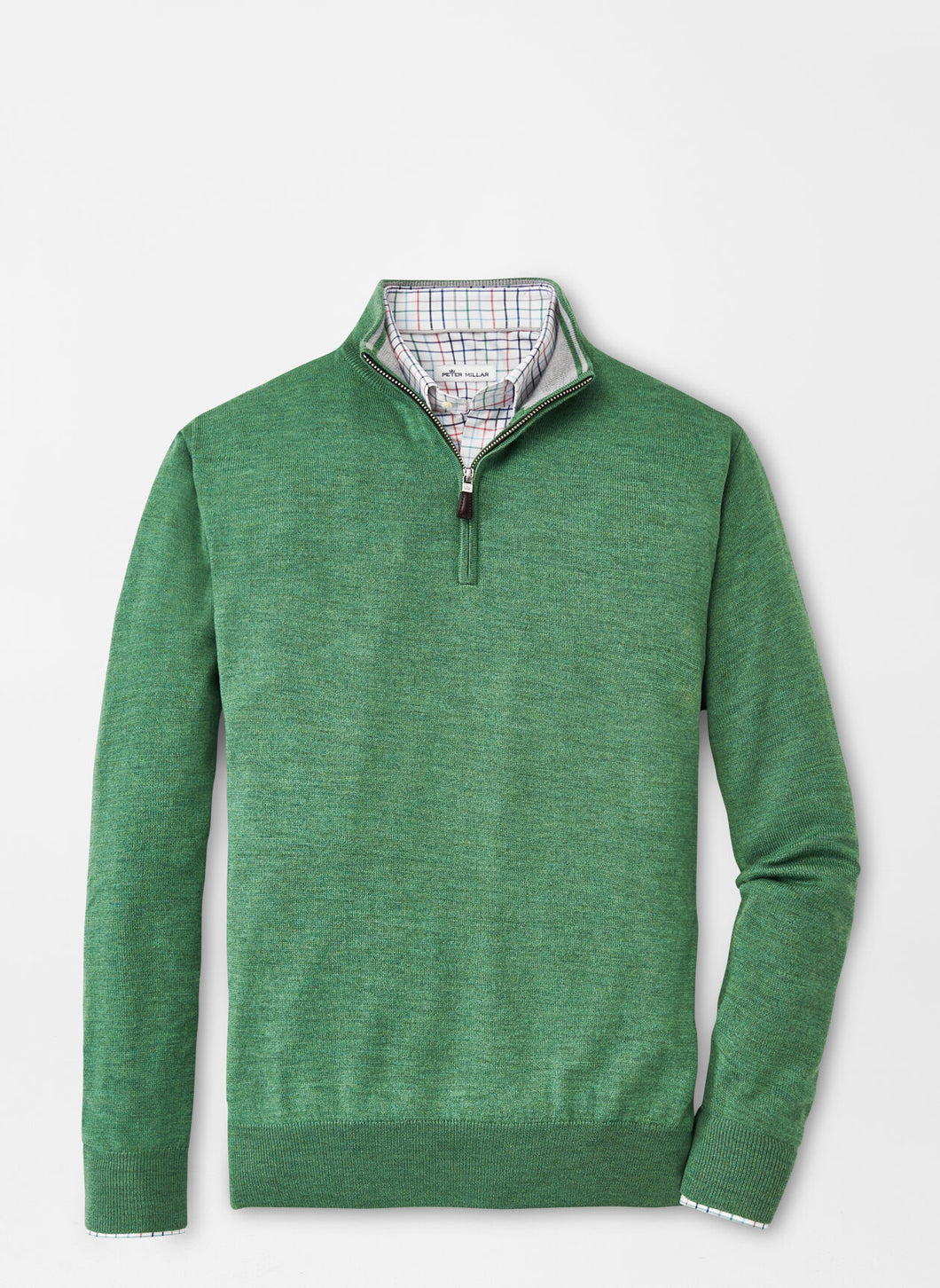 Peter Millar Crown Soft Merino-Silk Quarter Zip in Field Green