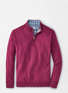 Peter Millar Crown Soft Merino Silk Quarter-Zip in Pomegranate