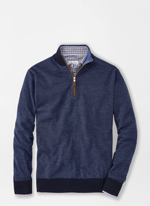 Peter Millar Needle-Stripe Wool Quarter Zip in Navy