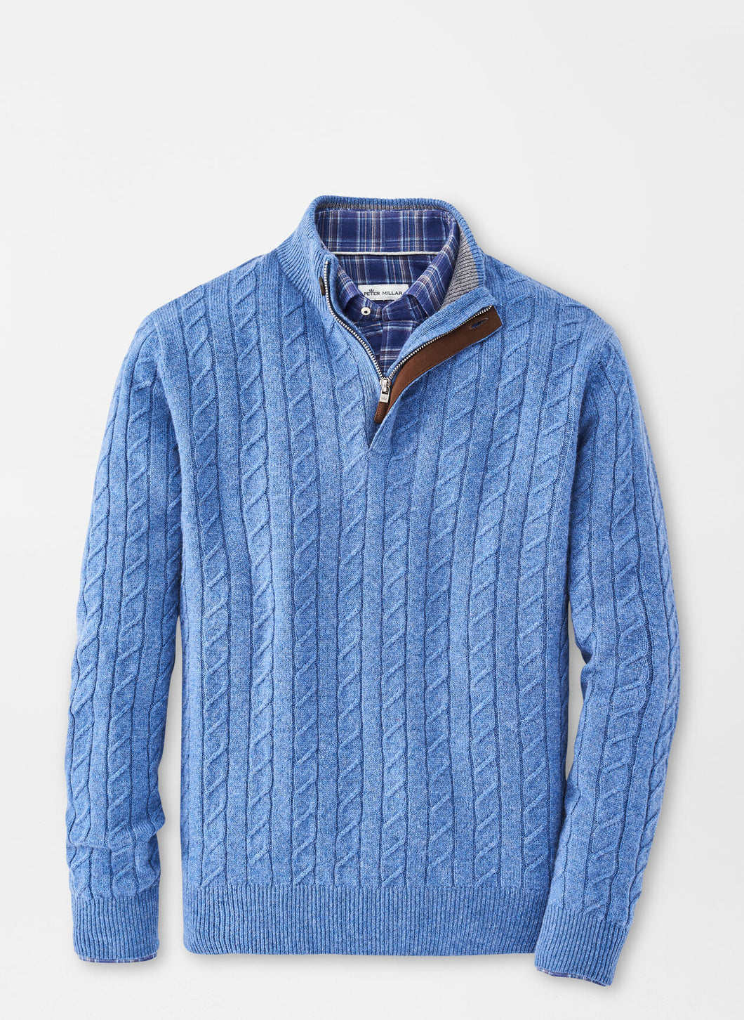 Peter Millar Wool Cable Quarter-Zip Sweater in Sailor Blue