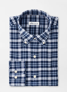 Peter Millar Gus Flannel Sport Shirt in Navy